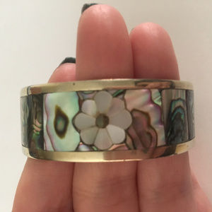 Cuff Bracelet Inlaid with Abalone and MOP